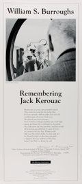 Miscellaneous:Broadside, William S. Burroughs. SIGNED/LIMITED. Remembering JackKerouac. White Fields Press, [1994]. Limited to 49 copies,of...