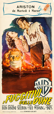 "Escape in the Desert (Warner Brothers, Late 1940s). First Post-War Release Italian Locandina (13"" X 27"")"