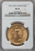 Saint-Gaudens Double Eagles: , 1907 $20 Arabic Numerals MS62 NGC. NGC Census: (3179/5599). PCGSPopulation (2363/10577). Mintage: 361,667. Numismedia Wsl....