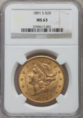 Liberty Double Eagles: , 1891-S $20 MS63 NGC. NGC Census: (477/59). PCGS Population (798/93). Mintage: 1,288,125. Numismedia Wsl. Price for problem ...