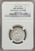 Seated Quarters: , 1891-S 25C -- Improperly Cleaned -- NGC Details. UNC. NGC Census:(4/133). PCGS Population (3/131). Mintage: 2,216,000. Num...