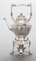 Silver Holloware, Continental:Holloware, A VIENNESE SILVER HOT WATER KETTLE ON STAND. Maker unidentified,Vienna, Austria, circa 1920. Marks: (Diana-A), (maker's mar...