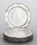Silver Holloware, South American:Holloware, A SET OF TWELVE SILVER COLONIAL PLATES, PROBABLY SOUTH AMERICAN .Maker unidentified, circa 1880. Unmarked. 11 inches diamet...(Total: 12 )
