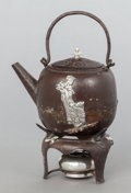 Silver Holloware, American, A GORHAM SILVER AND PATINATED IRON TEAPOT ON STAND . GorhamManufacturing Co., Providence, Rhode Island, 1883. Marks: (ancho...(Total: 2 Items)