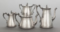 Silver Holloware, British:Holloware, A FOUR PIECE ELKINGTON & CO. VICTORIAN SILVER AND SILVER-PLATED TEA AND COFFEE SERVICE. Elkington & Co., Birmingham, England... (Total: 4 Items)
