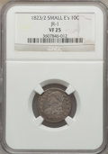 Bust Dimes: , 1823/2 10C Small Es VF25 NGC. JR-1. NGC Census: (5/84). PCGSPopulation (4/69). Mintage: 440,000. Numismedia Wsl. Price fo...