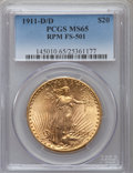 Saint-Gaudens Double Eagles, 1911-D/D $20 MS65 PCGS. FS-501....