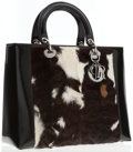 Luxury Accessories:Bags, Christian Dior Natural Pony Hair & Black Patent Leather Lady Dior Tote Bag. ...
