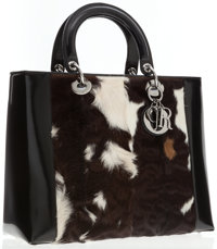 Christian Dior Natural Pony Hair & Black Patent Leather Lady Dior Tote Bag