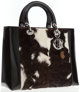 Christian Dior Natural Pony Hair & Black Patent Leather Lady Dior Tote Bag Classic Dior style! This is a Lady Di...