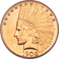 Indian Eagles, 1908-D $10 Motto MS63 PCGS....