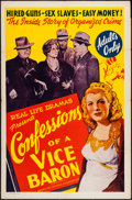 """Movie Posters:Exploitation, Confessions of a Vice Baron (American Trading, 1943). One Sheet(27"""" X 41""""). Exploitation.. ..."""