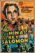 "Movie Posters:Adventure, King Solomon's Mines (Monitor Pictures, 1937). Argentinean Poster(29"" X 43""). Adventure.. ..."