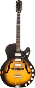 Musical Instruments:Electric Guitars, 1960's Harmony H59 Rocket Sunburst Semi-Hollow Body ElectricGuitar....