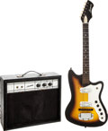 Musical Instruments:Electric Guitars, Circa 1964 Harmony Bobkat Sunburst Solid Body Electric Guitar andAmplifier....