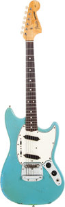 Musical Instruments:Electric Guitars, 1965 Fender Mustang Blue Solid Body Electric Guitar, Serial #L85898. ...
