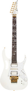 Musical Instruments:Electric Guitars, 2004 Ibanez JEM 77 White Solid Body Electric Guitar, Serial #F0428768....