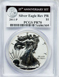 Modern Bullion Coins, 2011-P $1 Reverse Proof Silver Eagle, 25th Anniversary PR70 PCGS.Ex: Once part of a 25th Anniversary Set. PCGS Population ...