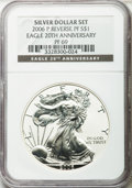 Modern Bullion Coins, 2006-P $1 Reverse Proof Silver Eagle, 20th Anniversary PR69 NGC.Ex: Silver Dollar Set. NGC Census: (41258/10340). PCGS Pop...