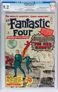 Fantastic Four #13 Don/Maggie Thompson Collection pedigree (Marvel, 1963) CGC NM- 9.2 Off-white to white pages