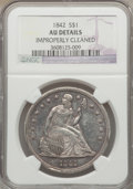 Seated Dollars: , 1842 $1 -- Improperly Cleaned -- NGC Details. AU. NGC Census:(49/288). PCGS Population (83/223). Mintage: 184,618. Numisme...