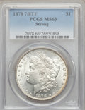 Morgan Dollars: , 1878 7/8TF $1 Strong MS63 PCGS. PCGS Population (2496/1706). NGCCensus: (1576/1110). Mintage: 544,000. Numismedia Wsl. Pri...