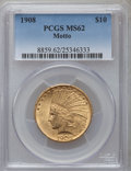 Indian Eagles: , 1908 $10 Motto MS62 PCGS. PCGS Population (1488/1088). NGC Census:(1488/731). Mintage: 341,300. Numismedia Wsl. Price for ...