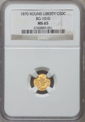 California Fractional Gold: , 1870 50C Liberty Round 50 Cents, BG-1010, R.3, MS65 NGC. NGC Census: (4/3). PCGS Population (17/3). ...