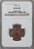 Two Cent Pieces: , 1865 2C MS64 Red and Brown NGC. NGC Census: (353/421). PCGSPopulation (629/290). Mintage: 13,640,000. Numismedia Wsl. Pric...