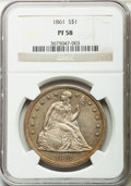 Proof Seated Dollars, 1861 $1 PR58 NGC....