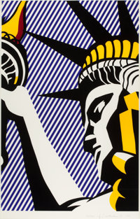 ROY LICHTENSTEIN (American, 1923-1997) I Love Liberty, 1982 Screenprint in colors 33-5/8 x 21-1/8