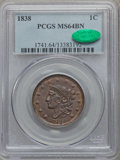 Large Cents, 1838 1C MS64 Brown PCGS. CAC. N-3, R.1....