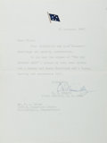 """Autographs:Military Figures, Admiral Chester W. Nimitz Typed Letter Signed """"C.W. Nimitz.""""One page, 6.5"""" x 8.75"""", n. p., December 18, 1946, to P.A. K..."""