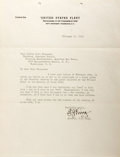 """Autographs:Military Figures, Admiral Ernest J. King Typed Letter Signed """"E.J. King."""" One page, 8"""" x 10.5"""", on United States Fleet letterhead, Washin..."""