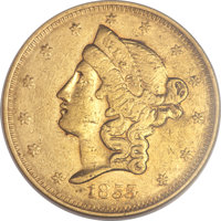 1855 $20 Wass Molitor Twenty Dollar, Large Head AU53 NGC. Variety unlisted in Kagin, believed unique....(PCGS# 10360)