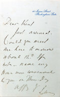 """Autographs:Authors, Robert Bulwer-Lytton (""""Owen Meredith,"""" 1831-1891, English poet andstatesman). Autograph Letter Signed. N.d. Stationery. ..."""