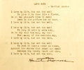 Autographs:Authors, Harriet Monroe (1860-1936, American poet). Typed Poem Signed. Measures 5.75 x 4.5 inches. One vertical and two horizontal cr...