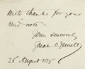 Autographs:Authors, Sarah Orne Jewett (1849-1909, American novelist). Clipped Signature. August 26, 1885. Measures 4.25 x 3.5 inches. Very good....