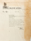 """Autographs:Celebrities, Oscar Tschirky (1866-1950, """"Oscar of the Waldorf""""). Typed LetterSigned. March 25, 1941. Measures 8.5 x 11 inches. Two horiz..."""
