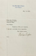 Autographs:Authors, Rollo Ogden (1856-1937, former editor of the NY Times). TypedLetter Signed. February 3, 1931. Stationery. Folded to 5.5...
