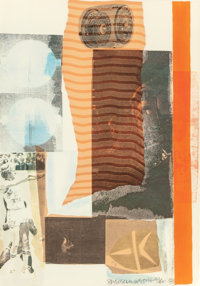 ROBERT RAUSCHENBERG (American, 1925-2008) Arcanum II, 1981 Silkscreen in colors with collage 22-1