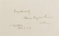 Autographs:Authors, Albert Bigelow Paine (1861-1937, author; collaborated with MarkTwain). Clipped Signature. New York. October 7, 1929. Measur...