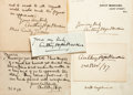 Autographs:Authors, Anthony Hope Hawkins (1863-1933, English novelist and playwright).Clipped Signatures and Autograph Letters Signed. Ca. 1894...