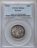 Barber Quarters: , 1916 25C MS64 PCGS. PCGS Population (119/89). NGC Census: (106/69). Mintage: 1,788,000. Numismedia Wsl. Price for problem f...