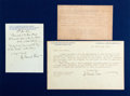 Autographs:Authors, George Bernard Shaw Autograph Letter and Typed Letter Signed. Autographed letter dated November 17, 1912, typed letter dated...