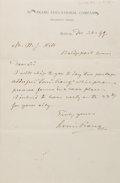Autographs:Artists, Louis Prang (1824-1909, American printer and lithographer).Autograph Letter Signed. December 26, (18)99. Stationery. Folded...