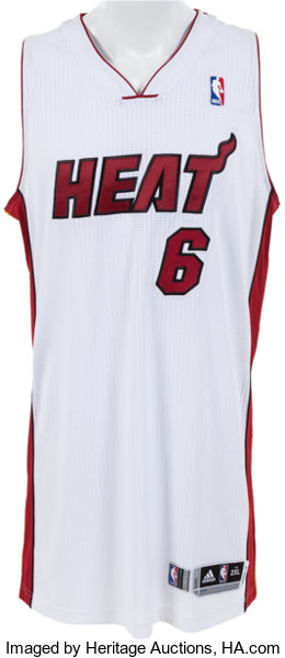 best loved dbb51 18612 2013-14 LeBron James Game Worn Miami Heat Jersey ...