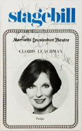 Autographs:Celebrities, Cloris Leachman Stagebill Signed. Stagebill is from ClorisLeachman's performance in Twigs at Marriott's LincolnshireTh...