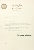 Autographs:Celebrities, Cornelia Wallace (1939-2009, wife of George Wallace). Typed Letterand Autograph Card Signed. March 25, 1976. Measures 5.25 ...