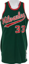 Basketball Collectibles:Uniforms, 1973-75 Kareem Abdul-Jabbar Game Worn Milwaukee Bucks Jersey, MEARSA10....